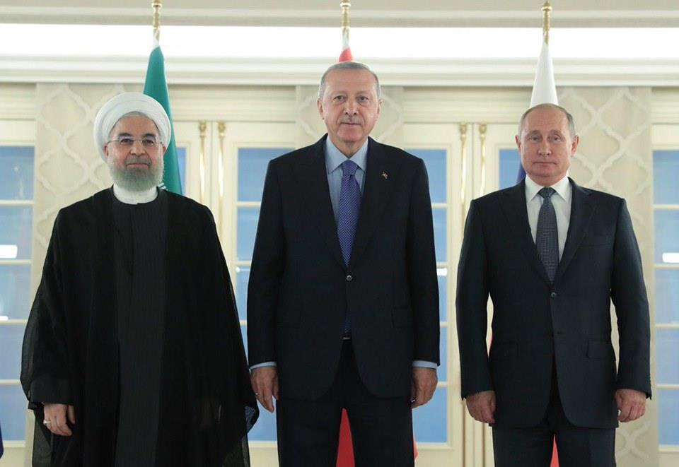 Реджеп Эрдоган, Владимир Путин и Хсан Роухани на встрече в Анкаре, 17 сентября 2019 г.