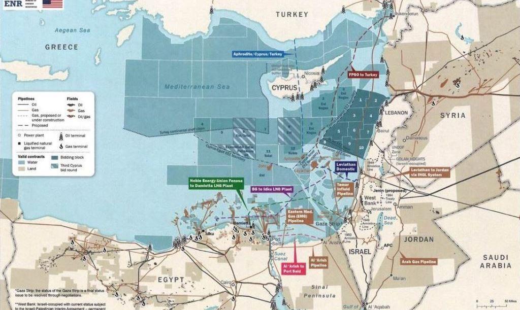 Энергетические запасы Восточного Средиземноморья, карта